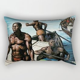 African American Masterpiece 'Rowing Ashore' by J. C. Leyendecker Rectangular Pillow