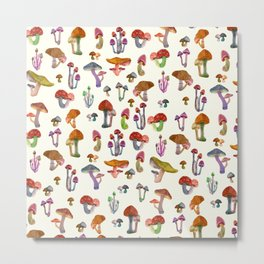 Mushrooms Pattern Metal Print