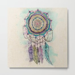 Modern tribal hand paint dreamcatcher mandala design Metal Print