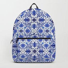 Art Nouveau Chinese Tile, Cobalt Blue & White Backpack
