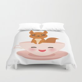 Cute Kawai pink cup with red squirrel Duvet Cover
