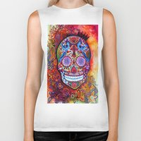 sugar skull Biker Tanks featuring Sugar Skull by oxana zaika