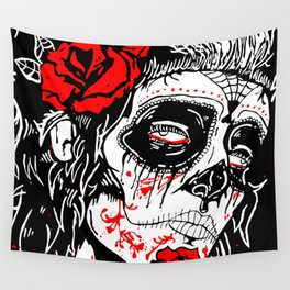 Girl With Sugar Skull, Day of the Dead Wall Tapestry