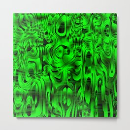 Bright smudges of magical infinity from green lines and dark hypnotic fixation. Metal Print