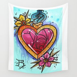 the crystal blossom gold heart Wall Tapestry