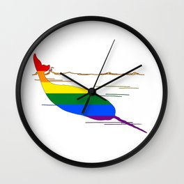 Rainbow Narwhal Wall Clock