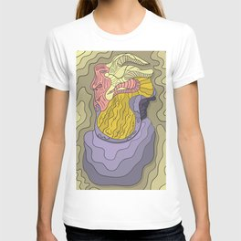 Abstract face portrait colorful with shades and ink outline T-shirt