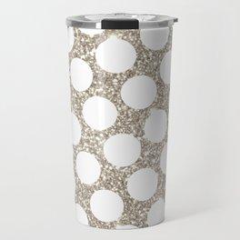 Silver Glitter and White Polka Dot Travel Mug