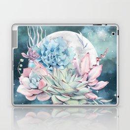 Beautiful Succulents Full Moon Teal Pink Laptop & iPad Skin