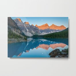 Canadian Rockies Reflection Sunrise Moraine Lake Banff National Park Canada Mountains Landscape Metal Print