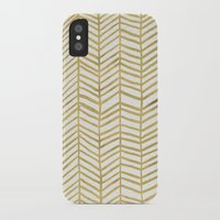 abstract iPhone & iPod Cases featuring Gold Herringbone by Cat Coquillette