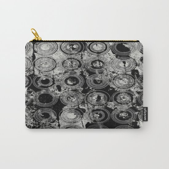 Urban Rings IV - Black and white textured abstract Carry-All Pouch