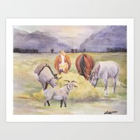 thanksgiving Art Prints featuring Thanksgiving by LaurelAnneEquineArt