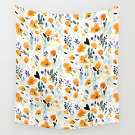 Cali Poppies + wild flowers Wall Tapestry