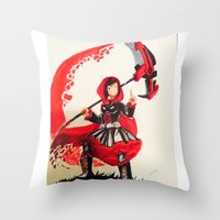 rwby Throw Pillows featuring Ruby Rose by Reggie Bear