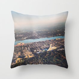 Flying over Montreal' stade Throw Pillow