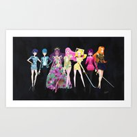 utena Art Prints featuring Utena Crew in Couture by Eastwood Wong