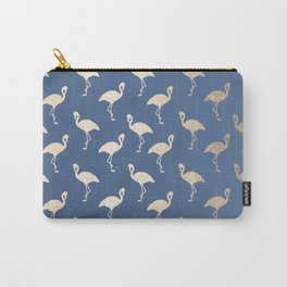 Gold Flamingo on Aegean Blue Carry-All Pouch