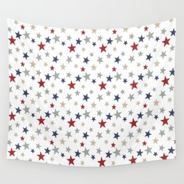 Patriotic Stars Red White Blue Repeating Pattern Vector Wall Tapestry
