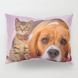 Beagle dog and kitten digital art Pillow Sham