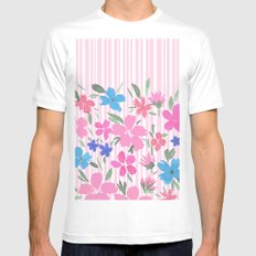Floral Spring and Stripes Pink White Mens Fitted Tee MEDIUM