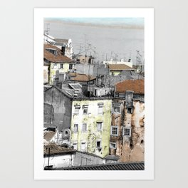 YELLOW AND PINK HOUSES AND THE RIVER TAGUS Art Print