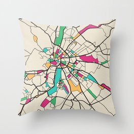 Colorful City Maps: Budapest, Hungary Throw Pillow