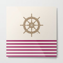 AFE Gold Nautical Helm Wheel Metal Print