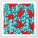 Origami red paper cranes sketch. burgundy maroon line Nature oriental by ekaterinap