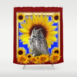 GREY OWL SUNFLOWERS  COFFEE BROWN  ART Shower Curtain