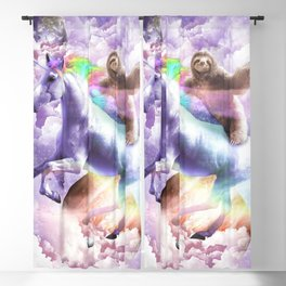 Epic Space Sloth Riding On Unicorn Blackout Curtain
