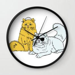 Navy Cats Wall Clock
