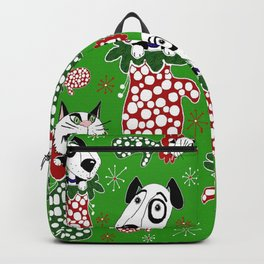 Christmas Puppies & Kittens Stuffed into Mittens! Backpack