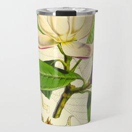 Vintage Botanical Scientific Flower Illustration White Flower Green Leaves Travel Mug