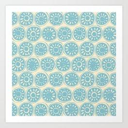 flower block blue ivory Art Print