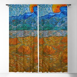 Landscape with wheat sheaves and rising moon Oil on canvas Painting by Vincent van Gogh Blackout Curtain