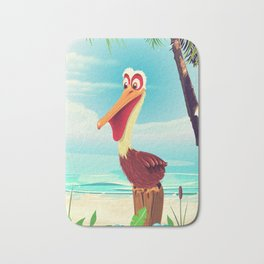 Vintage Pelican on the beach Bath Mat
