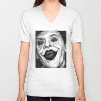 jack nicholson V-neck T-shirts featuring Jack Nicholson Joker Stippling Portrait by Joanna Albright