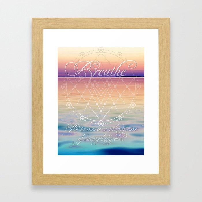 Breathe - Reminder Affirmation Mindful Quote Framed Art Print