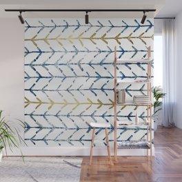 Indigo Gold Herringbone Pattern Wall Mural