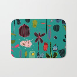 bugs and insects green Bath Mat