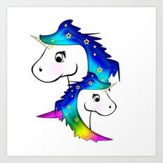Unicorn and child Art Print