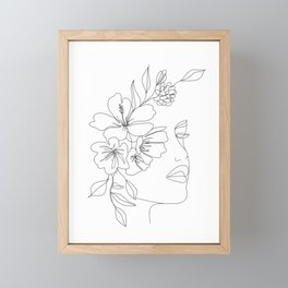 Minimal Line Art Woman Face II Framed Mini Art Print