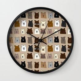 Bear Portraits on Brown Wall Clock