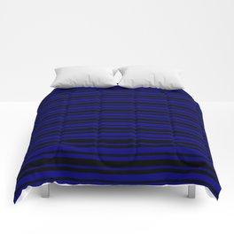 Navy Blue and Black Horizontal Var Size Stripes Comforters