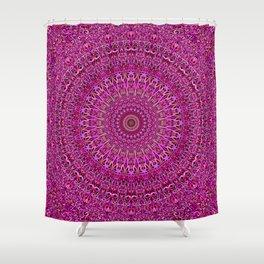 Hot Pink Floral Mandala Shower Curtain