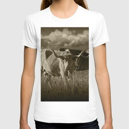 Sepia Tone of Texas Longhorn Steers under a Cloudy Sky T-shirt