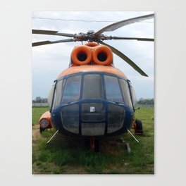 Helicopters are at the civil and military airfield Canvas Print