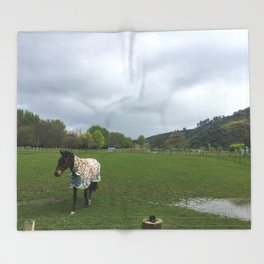 Horse In A Field Throw Blanket