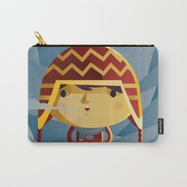 cute kid in the winter with a coy cap Carry-All Pouch